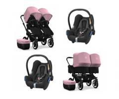 Bugaboo Donkey 2 Twin fekete 2x Cabriofix utazási rendszer (puha rózsaszín)