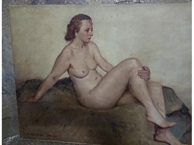Festmény XIX sz. vége, FERENCZI VALÉR (Nagybányai művésztelep) -Akt a műterembe 60x70, aláírva
